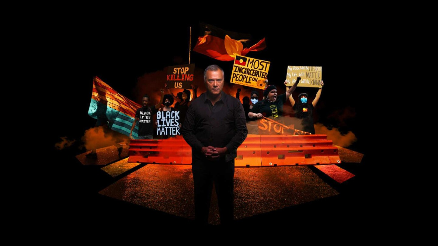 "Stan Grant stands in the middle of a graphic depicting a George Floyd protest. | From ""Four Corners: I Can't Breathe"""