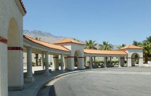 The postmodern entrance to the Palm Springs High School campus.