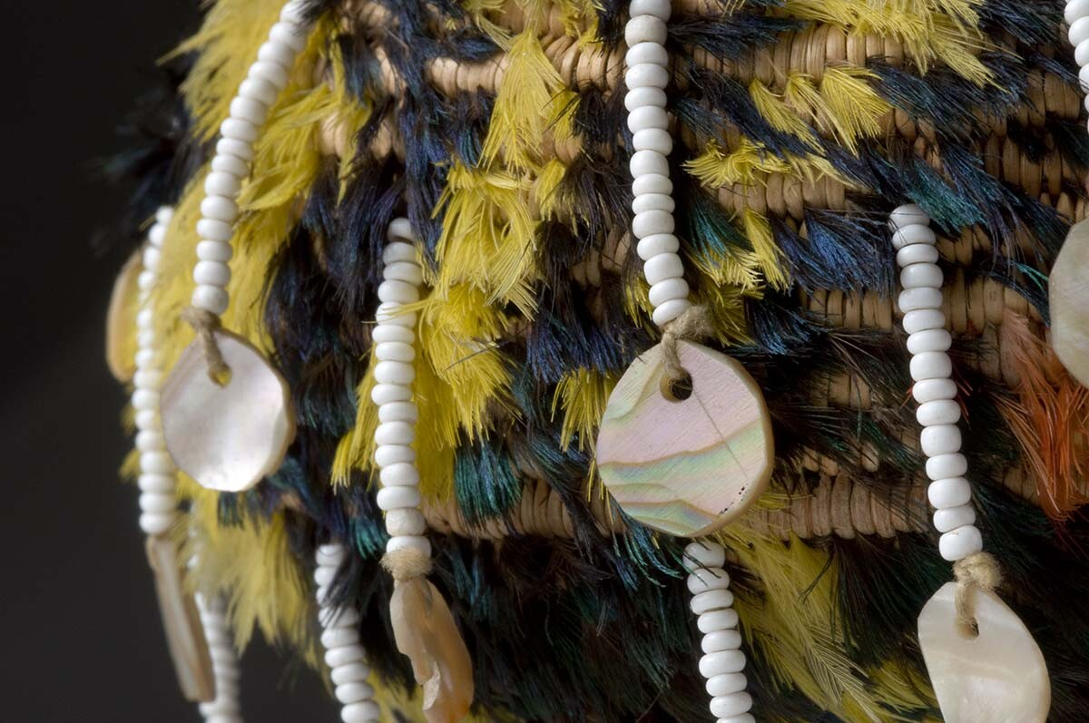 Detail of Pomo feather basket with clamshell and white trade beads | Autry Museum of the American West Collection