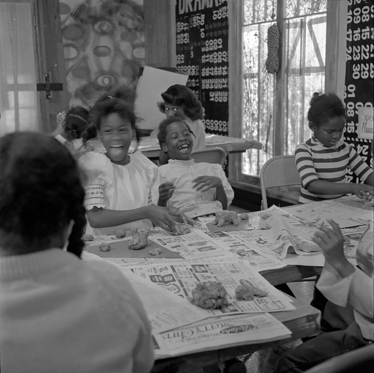 Students enjoyed a variety of art making activities and classes at the Happening House. | Courtesy of Willie Ford, Jr. and the Compton Communicative Arts Academy Collection, Special Collections and Archives, John F. Kennedy Memorial Library, California State University, Los Angeles.
