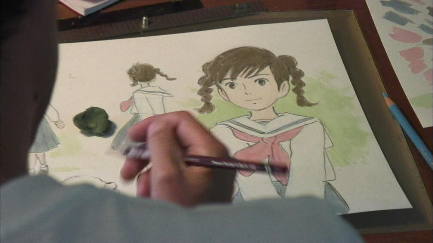 """Goro Miyazaki drawing a character from the film """"From Up the Poppy Hill"""" 