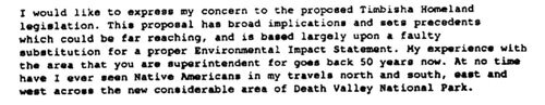 Portion of a private citizen's comment on the Timbisha Shoshone Homeland LEIS