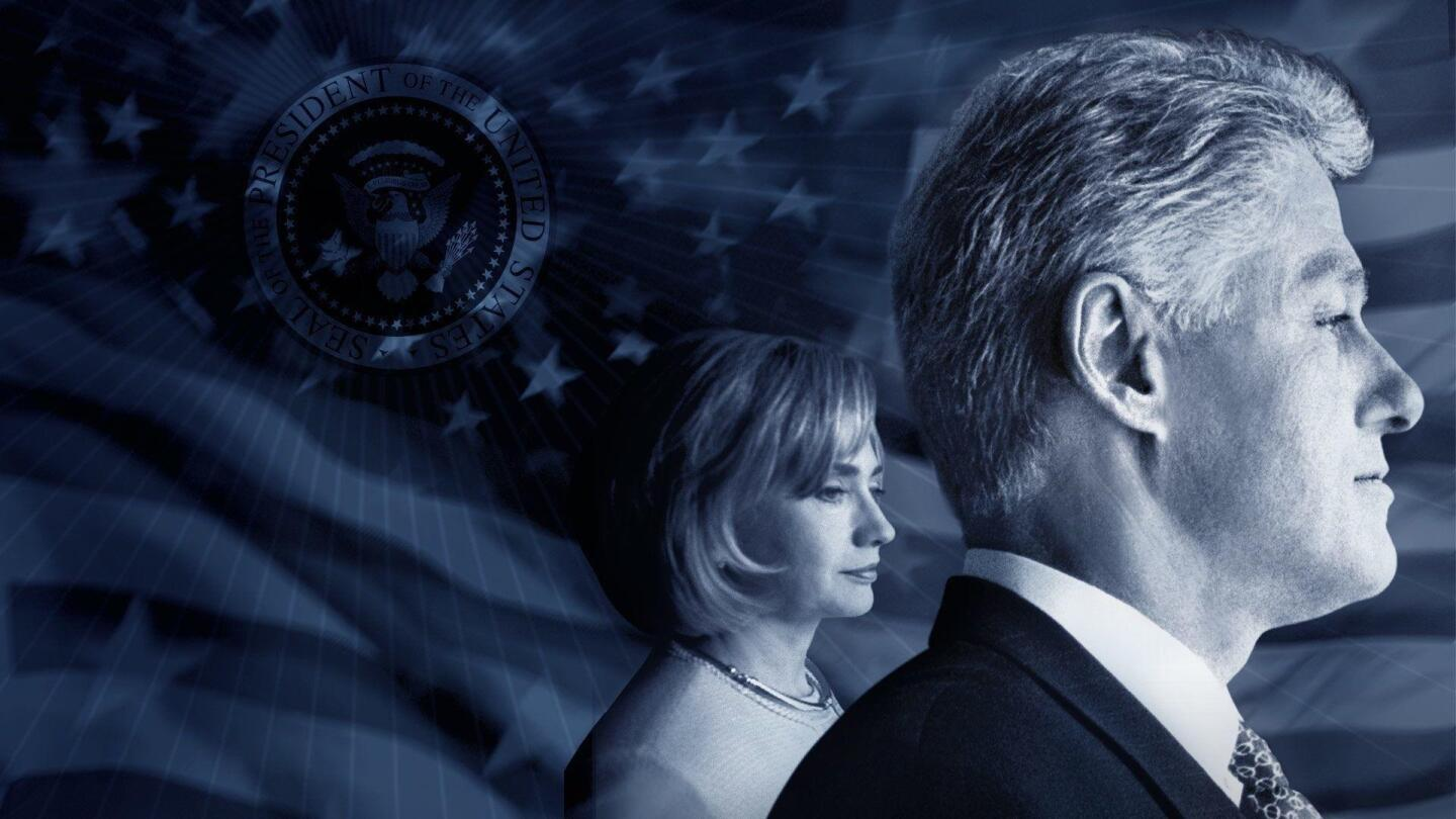 "Graphic depicting side profiles of President Bill Clinton and Hillary Clinton. | ""Clinton: American Experience"""