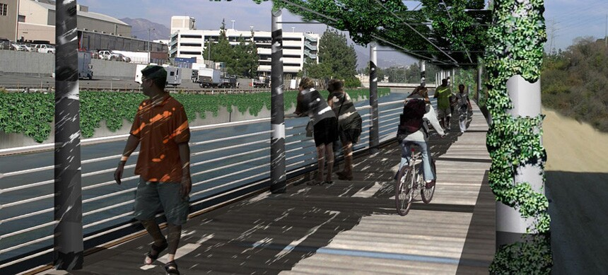LA River, cantilevered greenway trail - After