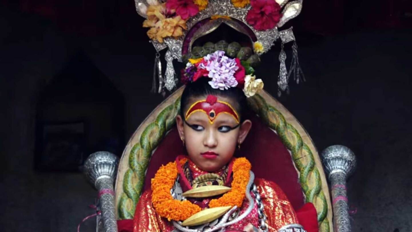 The current Kumari goddess in Nepal. | Broadly