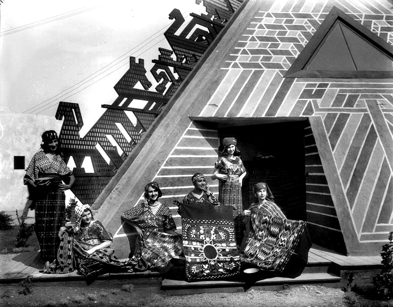 Guatemala Building. Strikingly colored and edged with stylized designs, the Guatemala building highlighted native textiles. Photograph courtesy of Security Pacific National Bank Collection, Los Angeles Public Library
