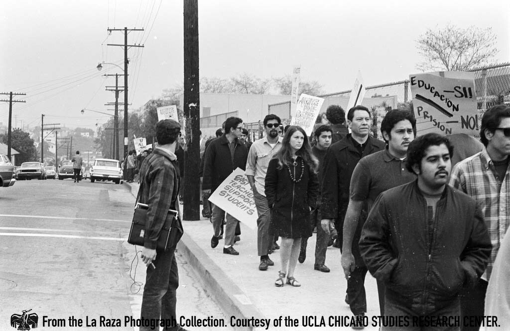 CSRC_LaRaza_B1F3C1_Staff_004 Protesters during Roosevelt High School walkout | La Raza photograph collection. Courtesy of UCLA Chicano Studies Research Center