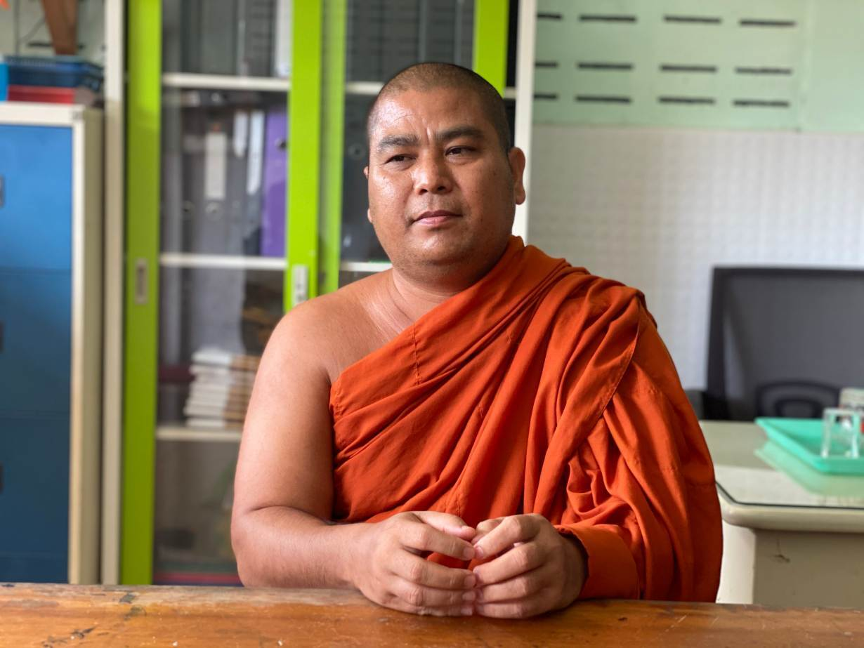 Var Say Hta, a Burmese monk who manages Ranonghtarni learning center in Ranong, Thailand on September 10, 2020.   Thomson Reuters Foundation/Nanchanok Wongsamuth
