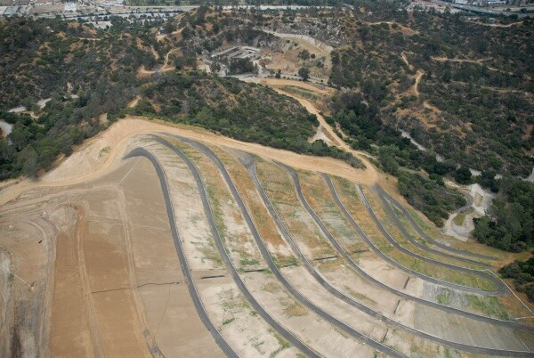 Aerial view of Toyon Canyon depicting a tiered slope | The Center for Land Use Interpretation (CC BY-NC-SA 3.0)