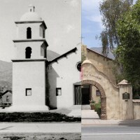Split Image with 1917 Catholic Church on Left and 2018 Ojai Valley Museum on Right
