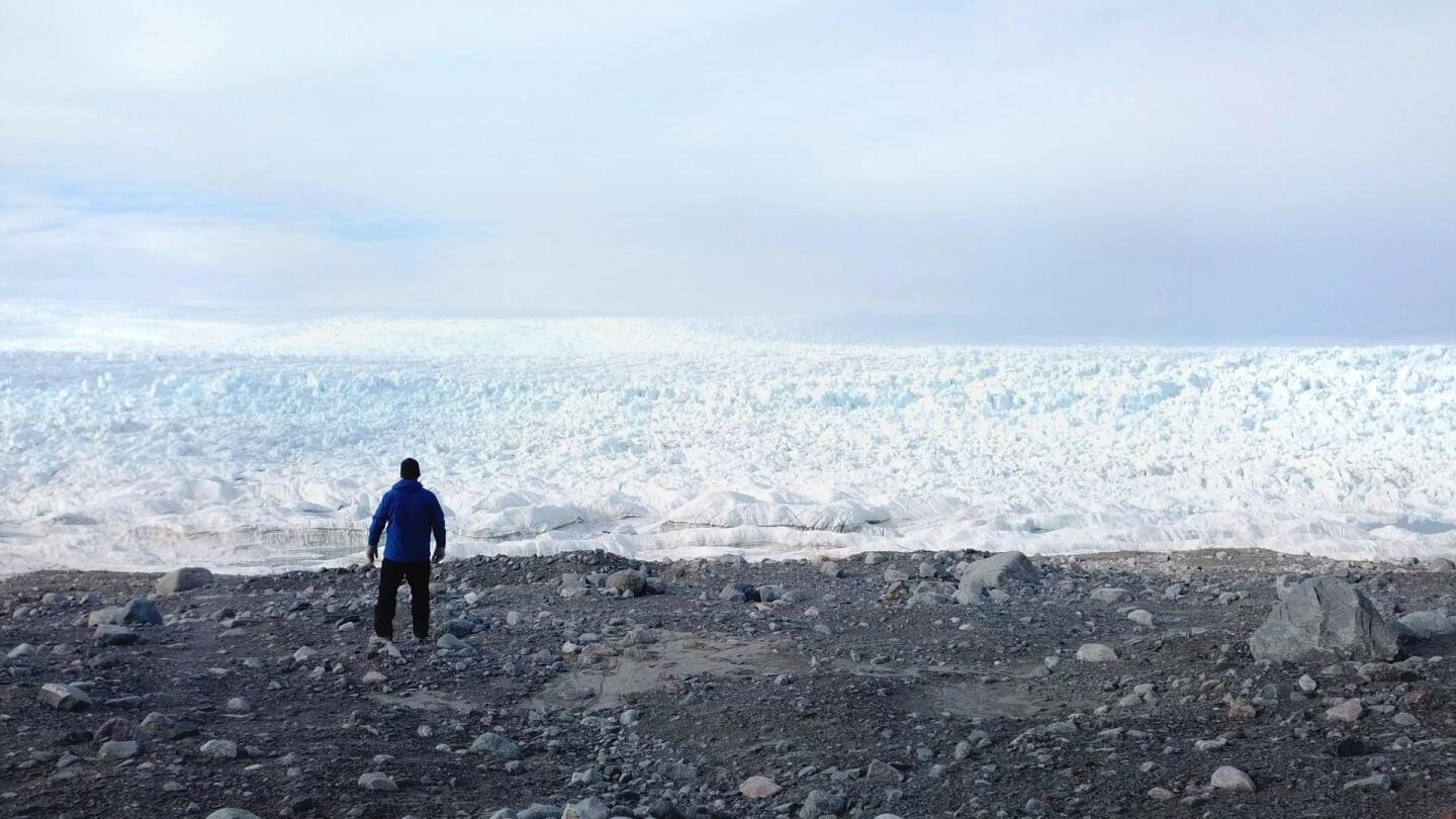 "Man looks out to an icy landscape from ""NOVA: Polar Extremes."""