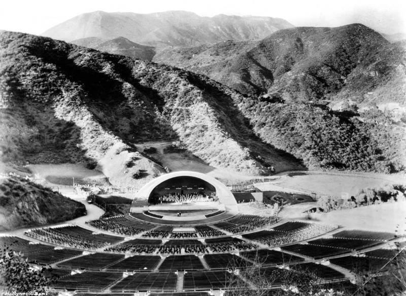 A black and white photo of the Hollywood Bowl.