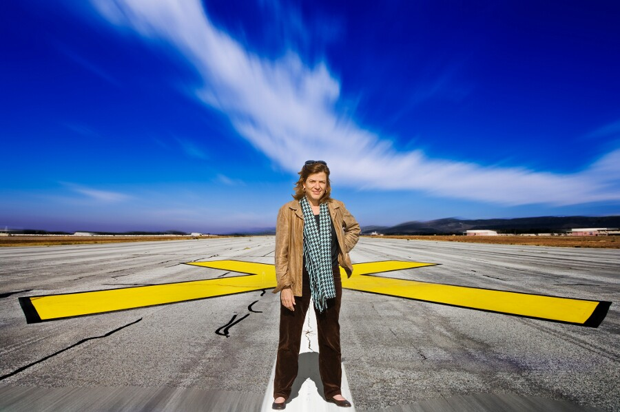 Landscape architect Mia Lehrer at the now closed Marine Corps Air Station El Toro. | Photo: Harry B. Chandler.