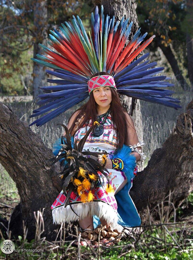 Gypsie Vasquez-Ayala poses in her danza regalia. | Hu's Photography by Husani G, Courtesy of Gypsie Vasquez-Ayala