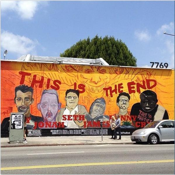 This Is The End commercial sign done in street art style on Melrose Avenue. Photo by Russell Hainline, via LAist.
