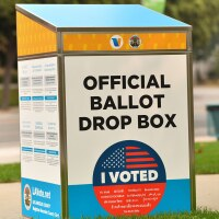 An official ballot drop box is set up in Los Angeles on September 12, 2020, ahead of the November 3 presidential elections. | CHRIS DELMAS/AFP via Getty Images