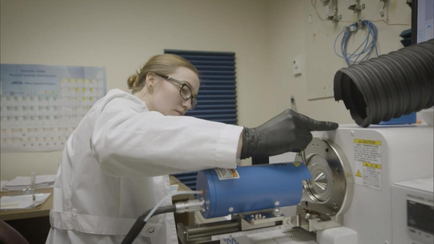 "Scientist testing wood at the U.S. Fish and Wildlife Service Forensics laboratory. | Still from ""Earth Focus"""