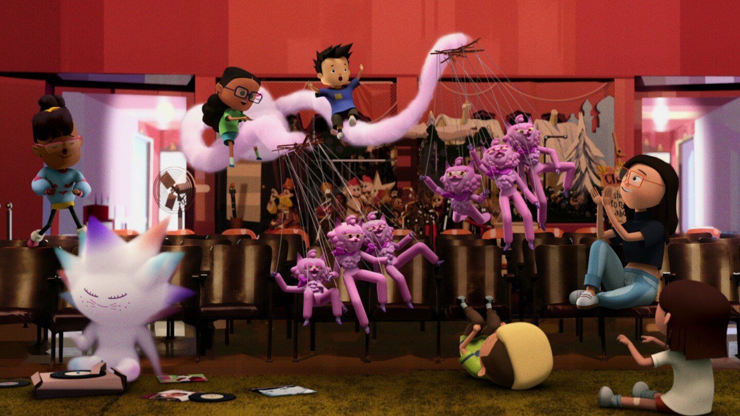 """A screen grab from Elizabeth Ito's new animated series, """"City of Ghosts"""" depicts the Ghost Team — Eva, Zelda, Peter, Thomas and Jasper — inside the Bob Baker Marionette Theater."""