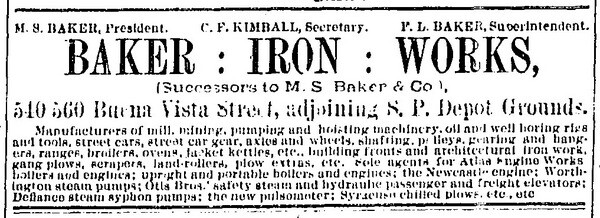 The Baker Iron Works took out this ad in the January 1, 1888, edition of the Los Angeles Times.