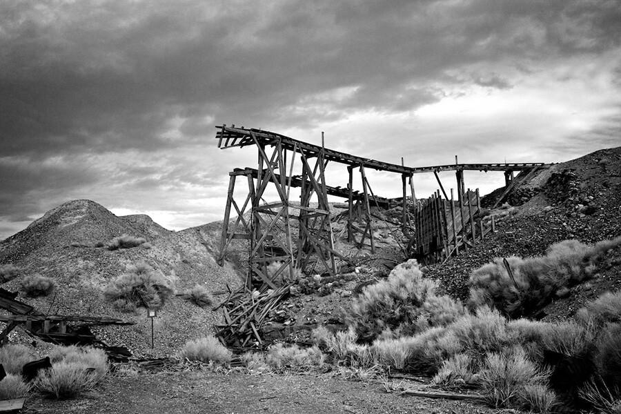 Tramway Ramp Remains No.1 - Infrared Exposure- Cerro Gordo, CA - 2012 | Photo: Osceola Refetoff