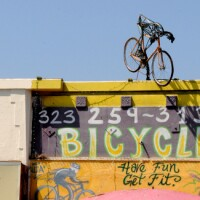 Bicycle shop on York Blvd., across from the ctiy's first bike corral