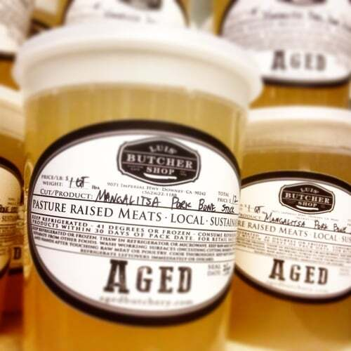 Bone broth. A good whole animal butcher can sustainably makes use of a mighty 15 percent of the animal by cooking down the bones to stock, broth or bases for making stews, chilis and casseroles. | Courtesy of Eagle Yu