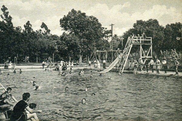 The plunge in the 1940s   Photo: Courtesy Steve Lech/Riverside Historical Society