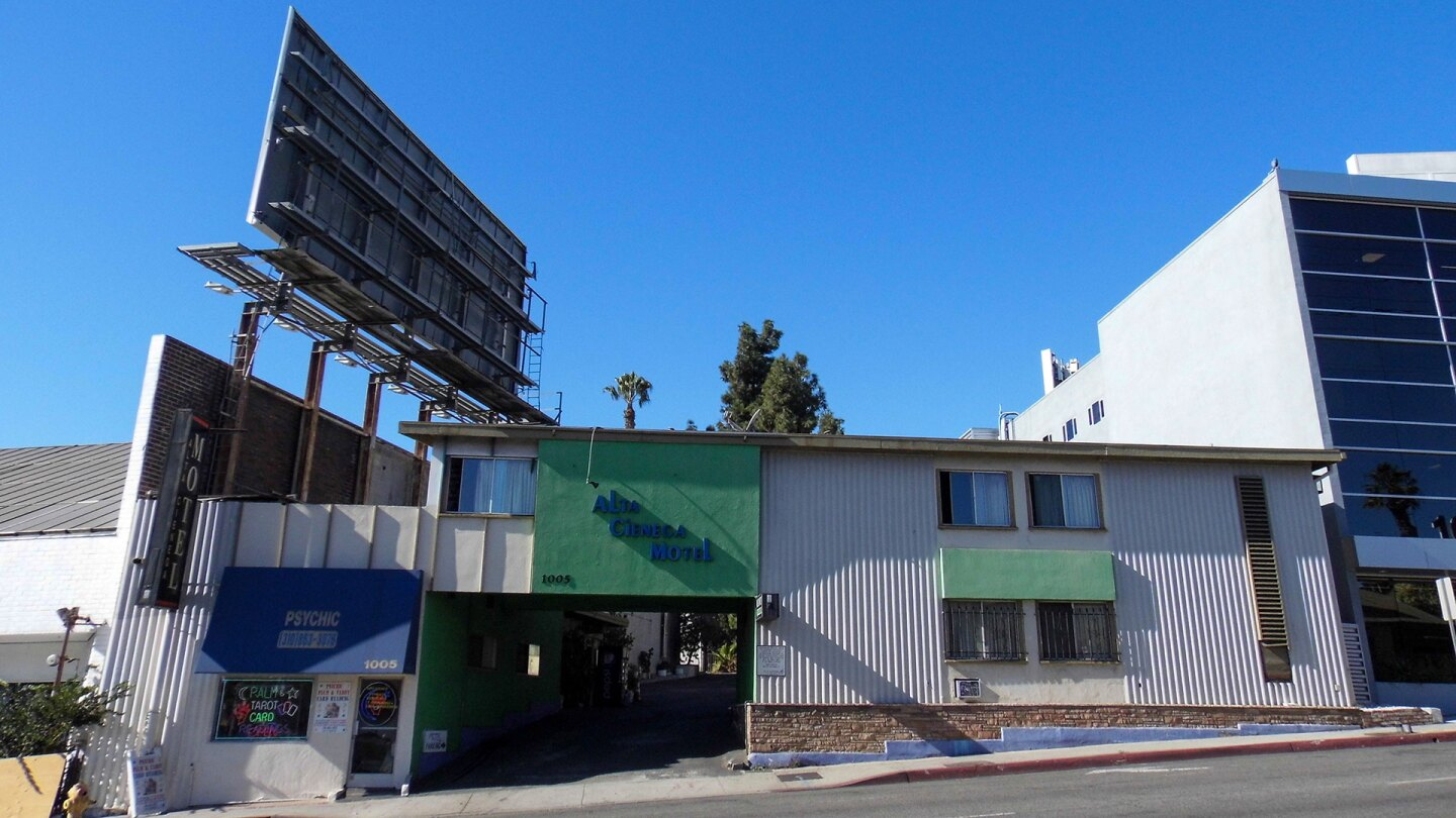 Exterior of the Alta Cienega Motel in West Hollywood.