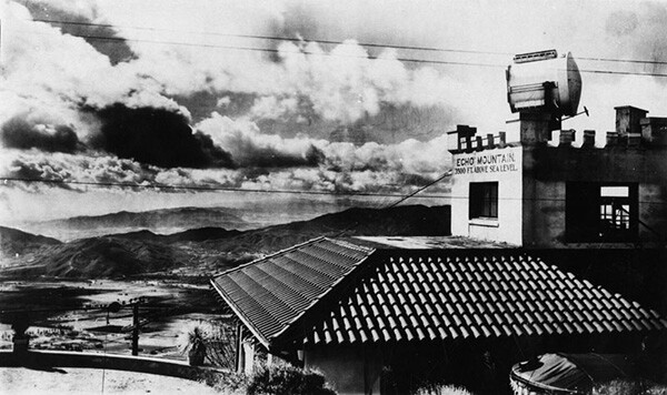 View of Echo Mountain Station, 3500 ft. above sea level. A spotlight is mounted on top of the building. | Courtesy of the Los Angeles Public Library