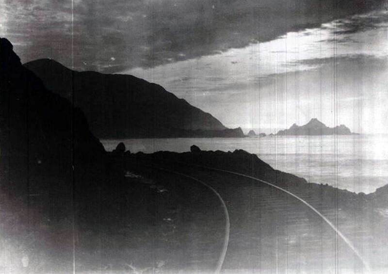 ocean shore railroad sunset