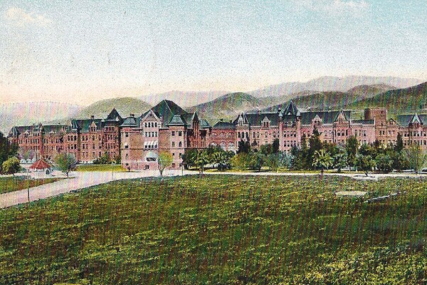 Postcard view of Patton State Hospital, circa 1900