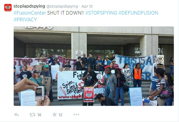 Stop LAPD Spying Coalition used Twitter to broadcast their action to demand the shutdown of 'Fusion Center'