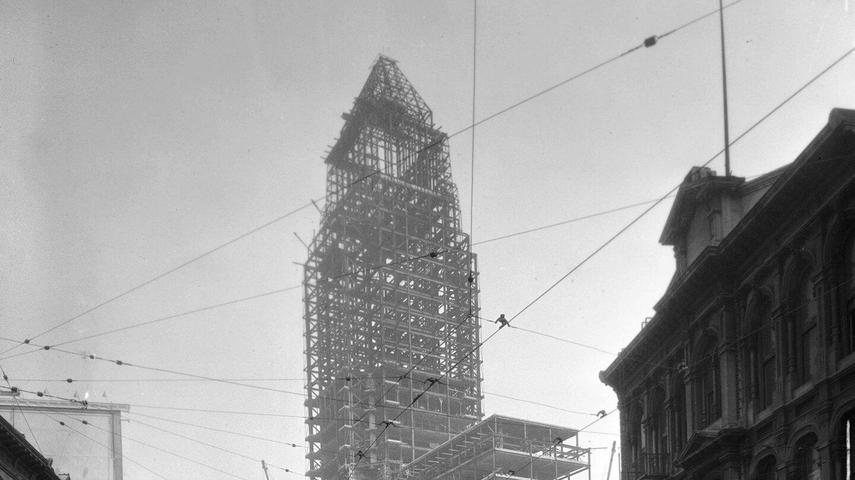 Steel frame of building being erected