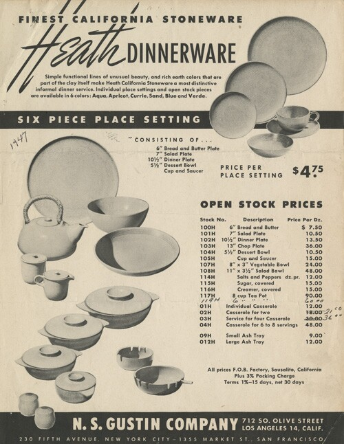 N.S. Gustin brochure showing Heath Ceramics' first official dinnerware line: Coupe.  | Courtesy of the Environmental Design Archives at UC Berkeley