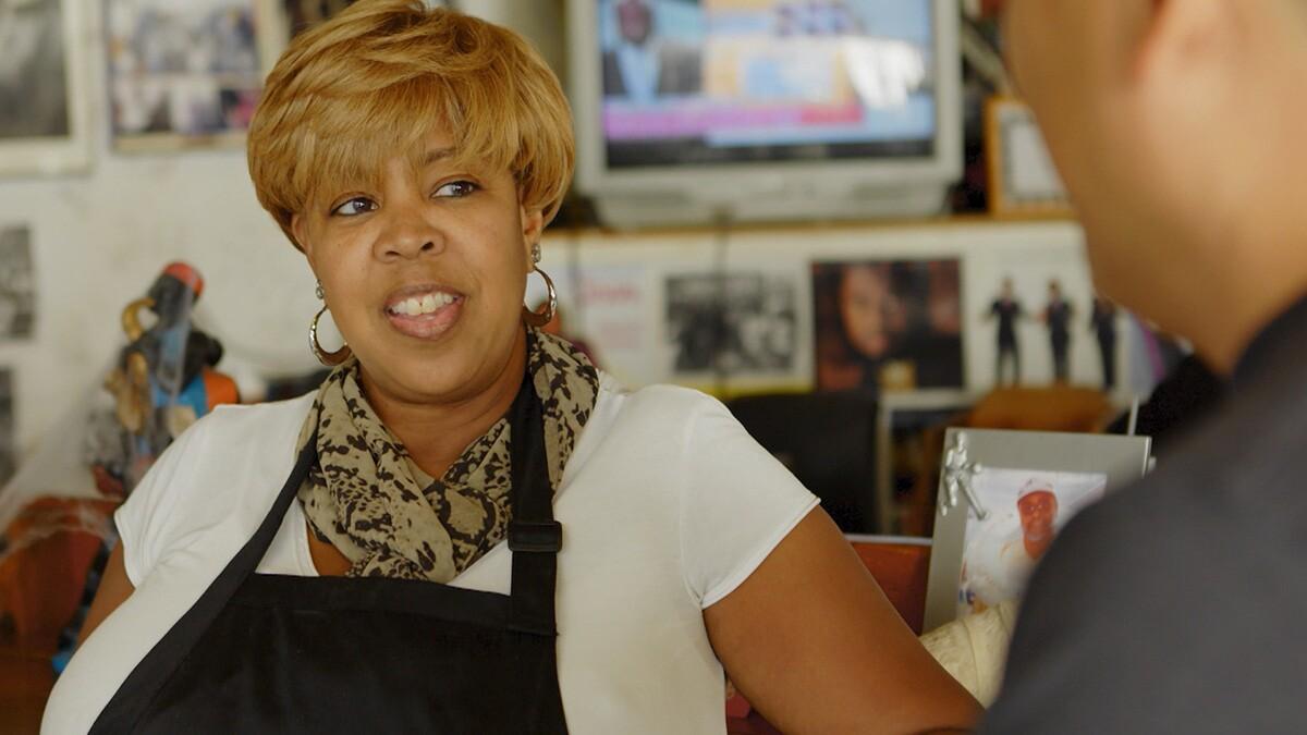 "Desiree Edwards was been running Watts Coffee House since 1997. | Still from ""Broken Bread"" Watts"