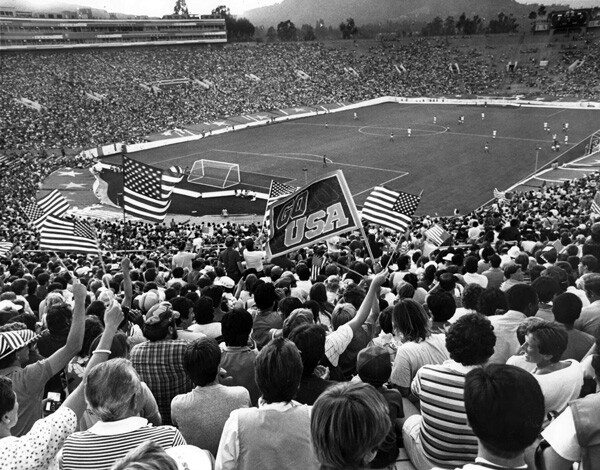 Pasadena's Rose Bowl hosted the 1984 Olympic soccer games. In this photo, fans cheer on the U.S. team, which lost 1-0 to Italy. Courtesy of the Archives, Pasadena Museum of History (Pasadena Star-News Collection).