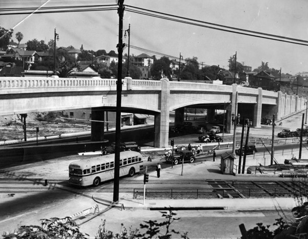 The viaduct shortly before it opened to traffic in September 1942. Courtesy of the Herald-Examiner Collection - Los Angeles Public Library.