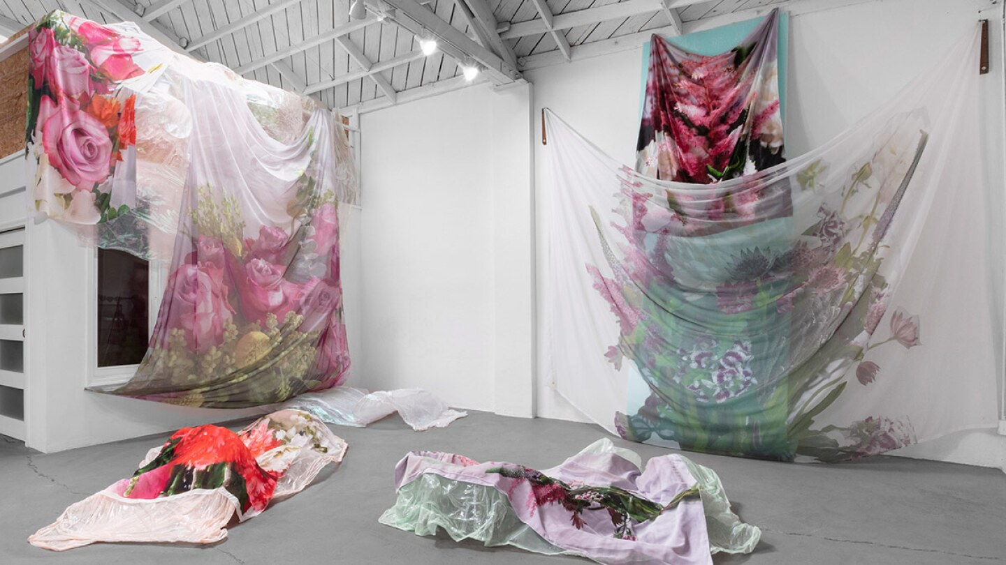 """Installation view of """"Why Bring Me Flowers When I Am Dead? When You Had The Time To Do It When I Was Alive"""" by Jaklin Romine 