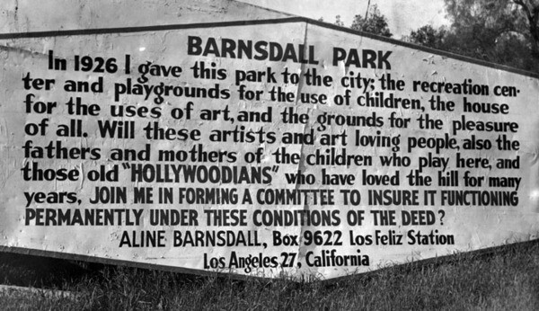 Sign posted right outside of Barnsdall Park, 1945 | Photo: Herald-Examiner Collection, Los Angeles Public Library
