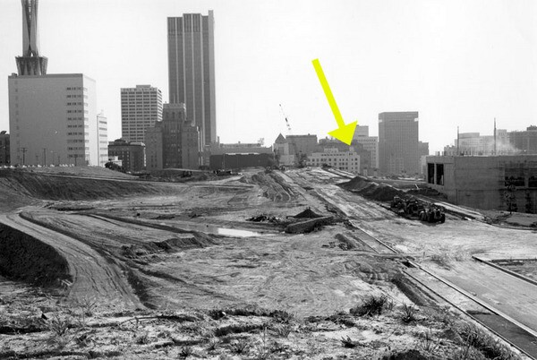 By the time William Reagh took this photo in 1970, OIiver's house and the stub of Bunker Hill on which it once stood had been demolished. Courtesy of the William Reagh Collection - Los Angeles Public Library.