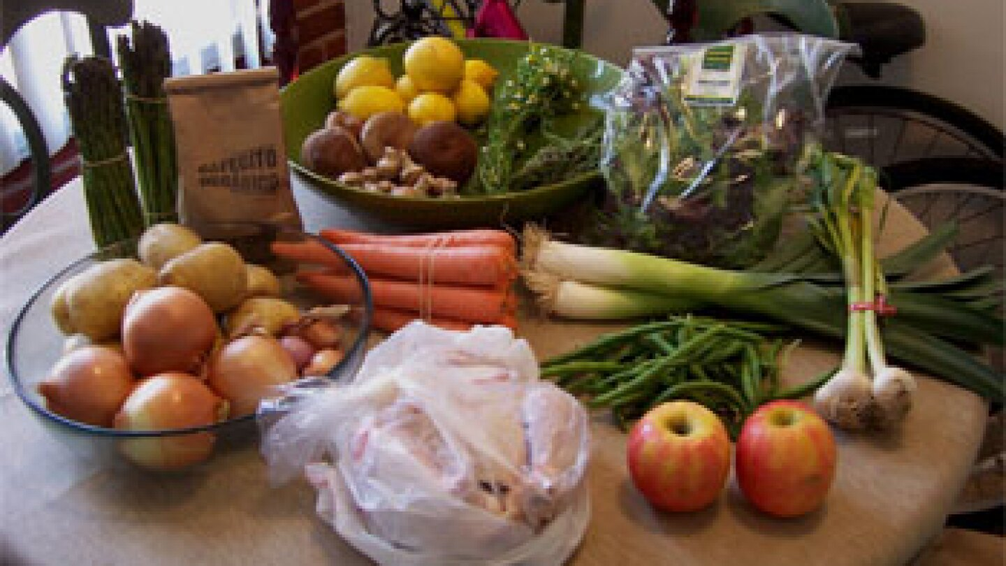 a week's worth of market produce ... and a chicken ... and a pound of coffee
