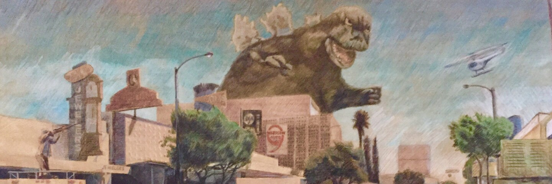 "Ron Reeder and Joseph Janusz, ""Godzilla Visiting El Monte.""   Courtesy of South El Monte Arts Posse and Ron Reeder"