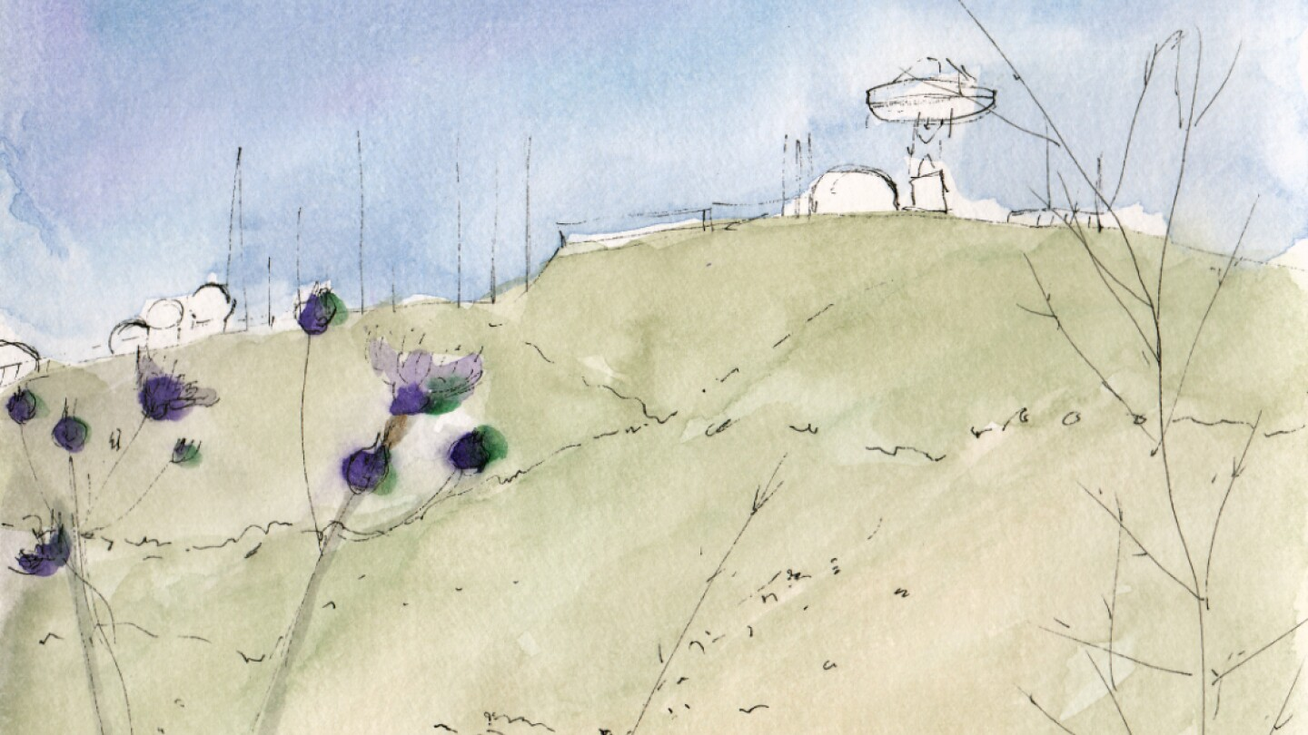 Sketch of Laguna Peak Tracking Station, 2016. Watercolor and ink on paper | Hillary Mushkin