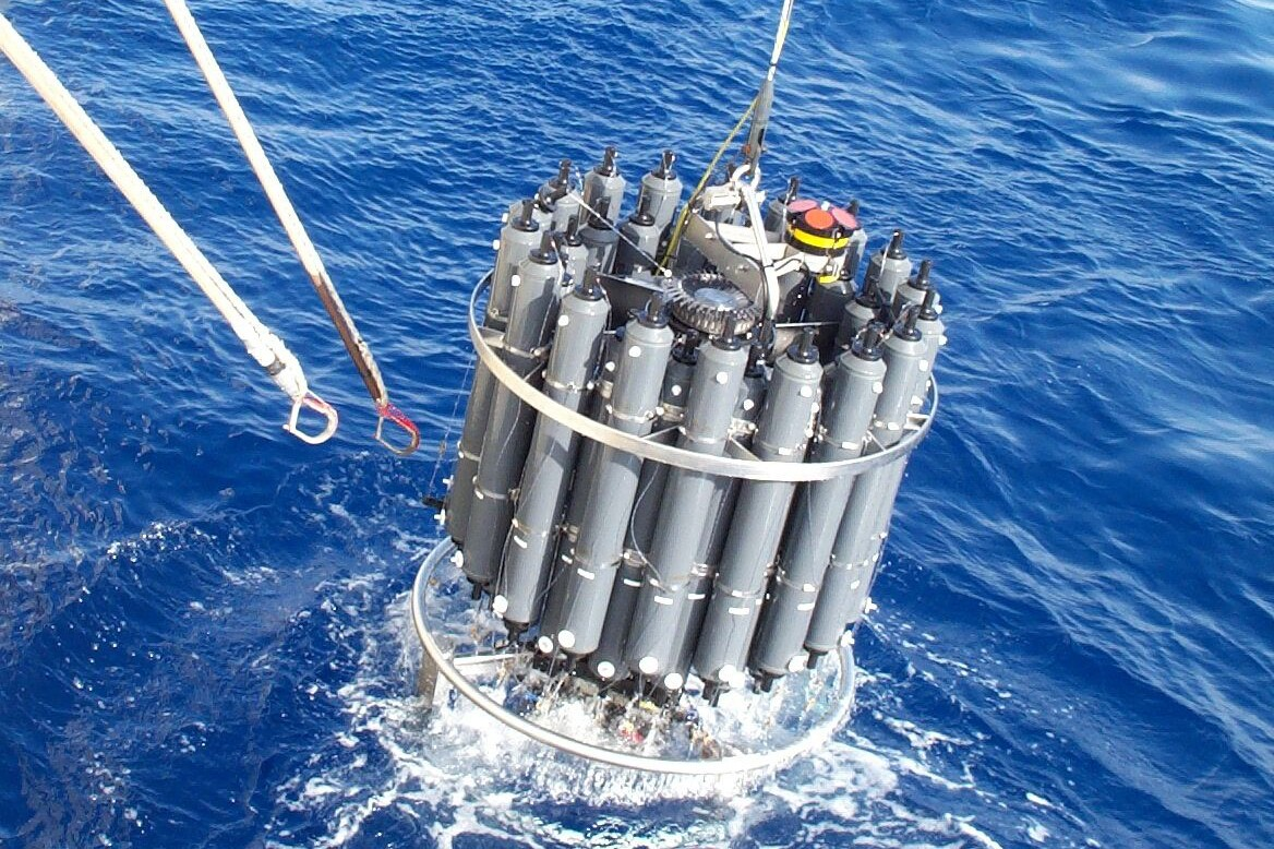 The CTD rosette returns to the boat after sampling water in the ocean water column. | Naomi Levine