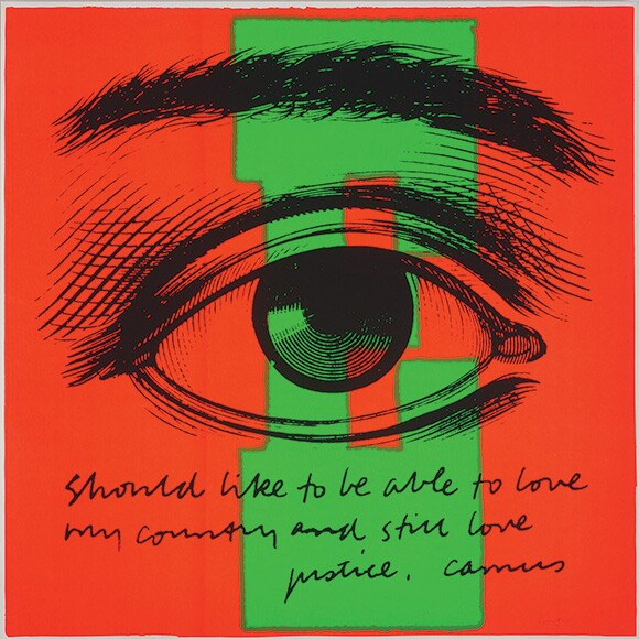&quot;E eye love,&quot; 1968. Silkscreen print on paper 23 x 23 inches. | Collection: Corita Art Center, Immaculate Heart Community, Los Angeles, CA. Photograph by Arthur Evans, courtesy of the Tang Museum at Skidmore College.<br />