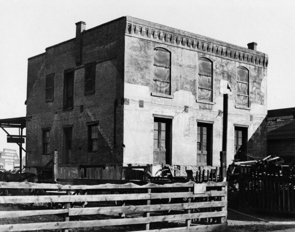 Exterior view of the old French Consulate at 445 East Aliso Street, once the finest brick structure in Los Angeles   Courtesy of the Los Angeles Public Library