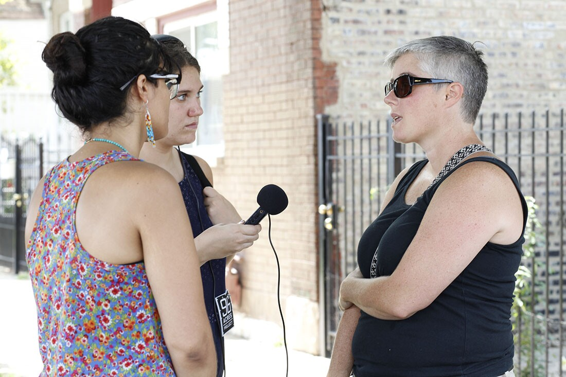 A local resident at the PARK event contributes reflections on Chicago's West Side communities and the Cook County Jail. | Courtesy of Silvia Gonzalez