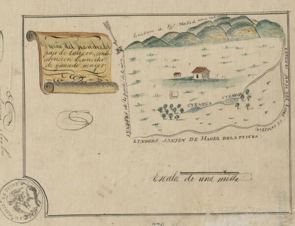 Mexican Land Grant Map of Rancho La Cienega o Paso de la Tijera issued to Vicente Sanchez in 1843 by Governor Manuel Micheltorena. Courtesy of UC Berkeley