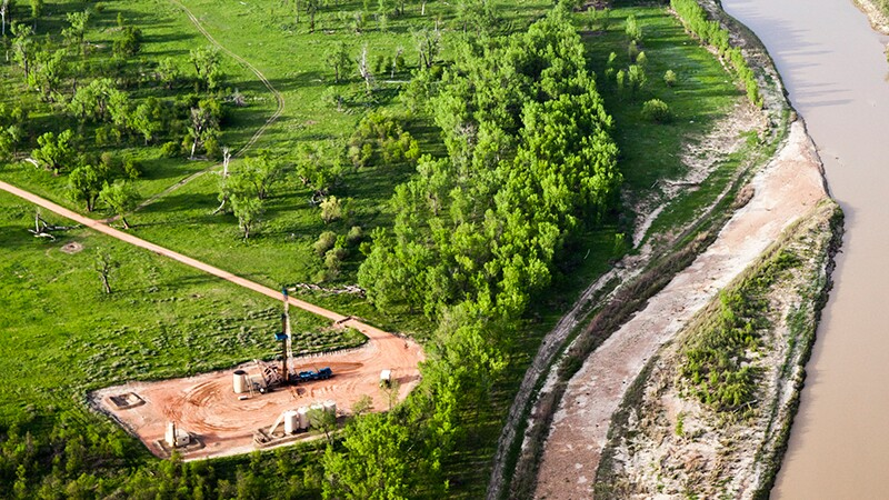 It's not just the Dakota Access Pipeline: here's an oil pad perilously close to the Little Missouri River. | Photo: NPCA