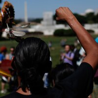 "Members of the the San Carlos Apache Nation attend a protest outside the U.S. Capitol against a land swap that ""threatens the sacred Apache Leap site with environmental damage from nearby high-risk copper."" July 22, 2015. 